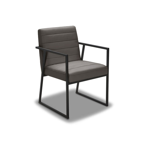 modern grey brown ribbed leatherette dining arm chair with black frame