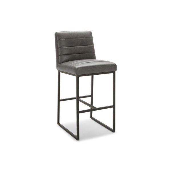 modern elephant grey leatherette channel tufted counter stool with black metal base and leg
