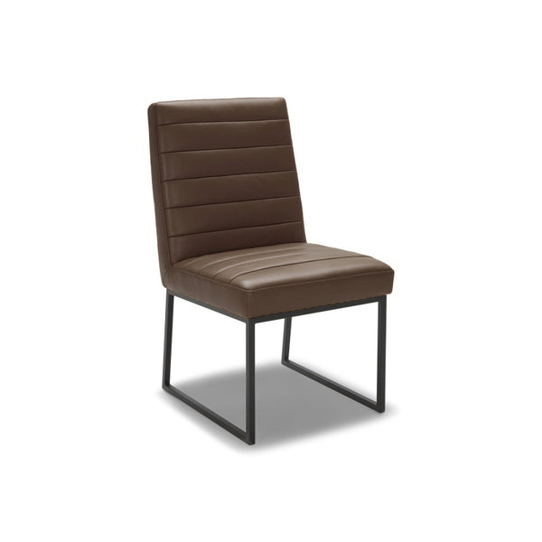 modern grey brown ribbed leatherette dining chair with black frame