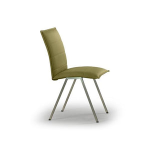 Green modern upholstered dining chair with grey powder coat metal legs