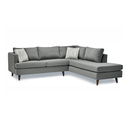 Slate modern fabric sectional with espresso legs, right hand facing
