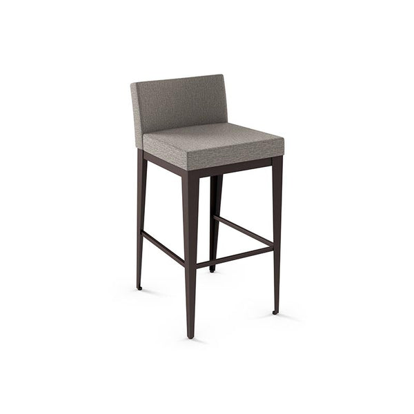 Modern counter stool with upholstered seat and metal frame
