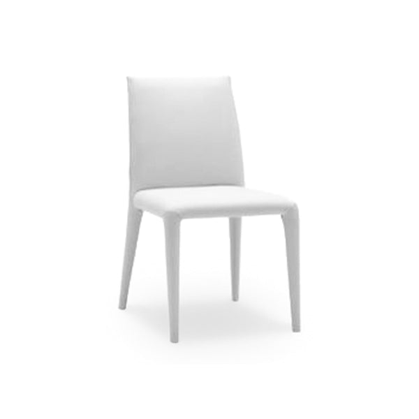 White modern bonded leather dining chair