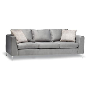 Grey modern fabric sofa with metal legs