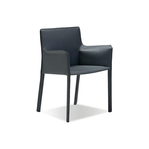 Dark grey modern full leather wrap dining arm chair