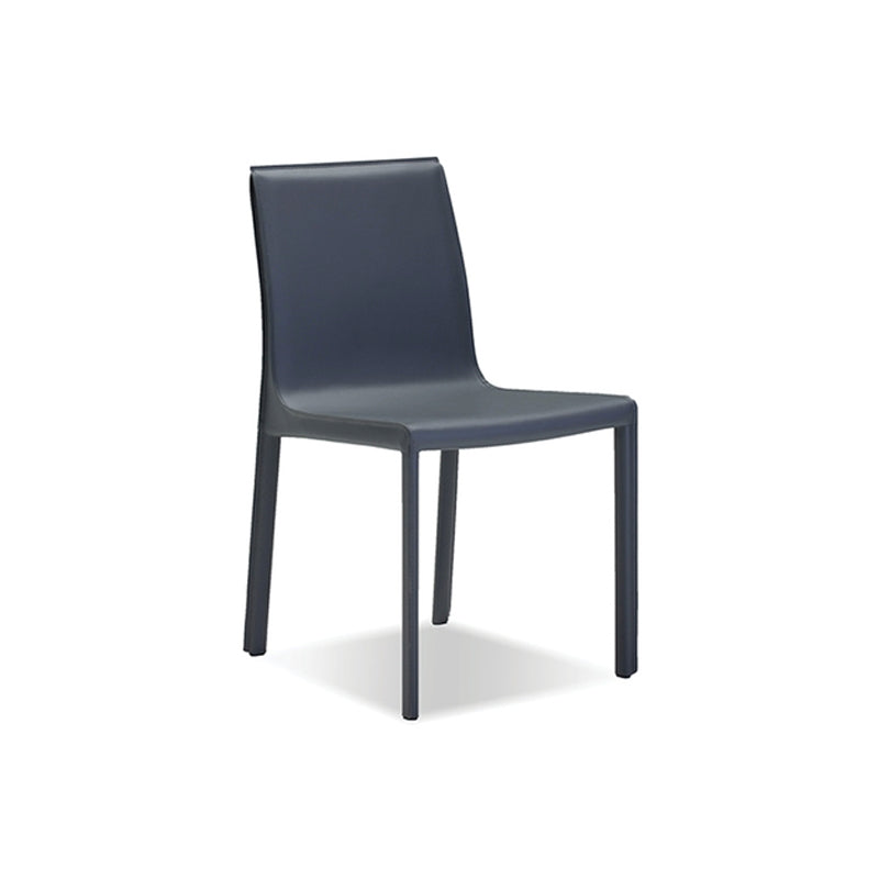 Dark grey modern full leather wrap dining chair