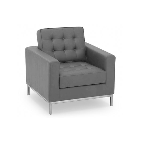 Modern grey leather arm chair with brushed metal base