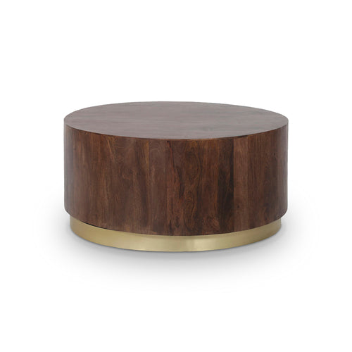 Mango wood modern coffee table with brass base