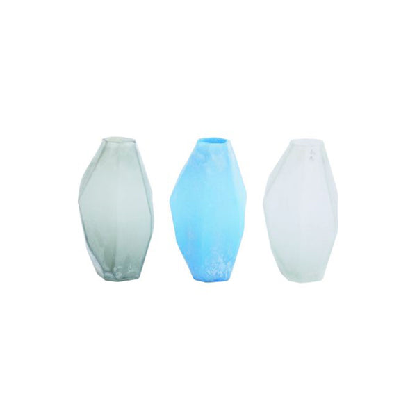 Grey, Blue, and White Modern Frosted Glass Vases