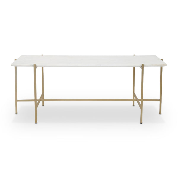 White modern marble coffee table with brass plated base