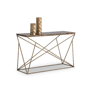 modern console sofa table with solid brown marble top with geometric steel base and antique brass finish