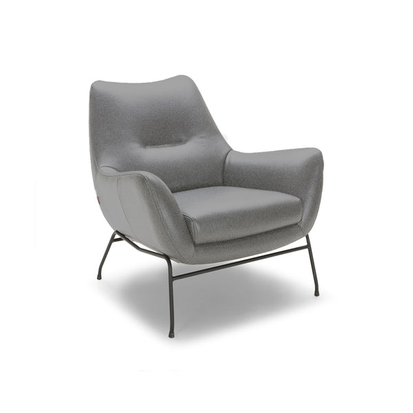 Grey modern top grain leather arm chair with black metal legs