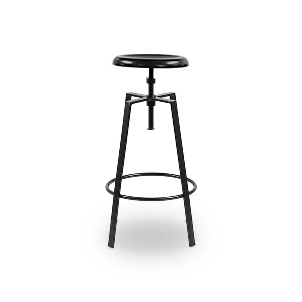 Black modern metal adjustable stool