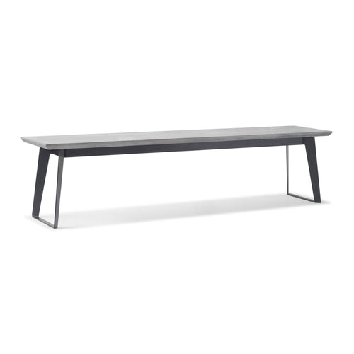 Modern concrete bench with black metal legs