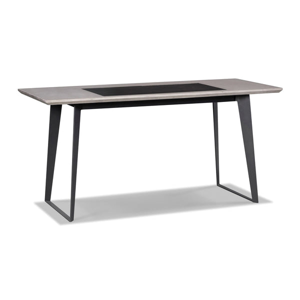 Modern concrete desk with back metal legs