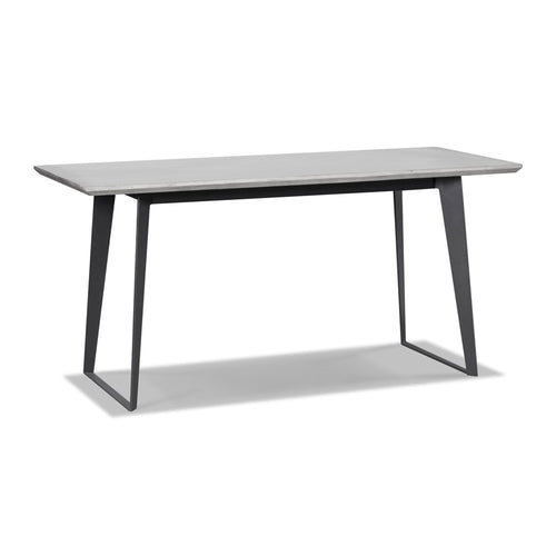 Modern concrete dining table with black metal legs