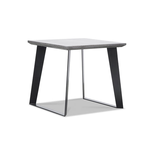 Modern concrete end table with black metal legs