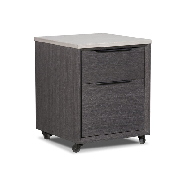 Grey stained wood modern mobile file cabinet with concrete top and black metal legs