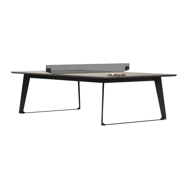 Modern concrete ping pong table with black metal legs