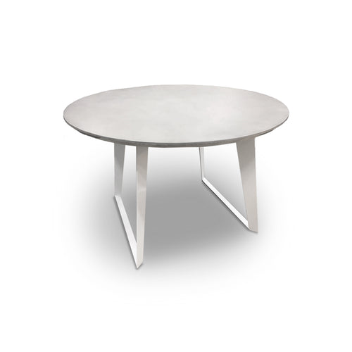 Modern Round Dining Table with Concrete Top and White Metal Legs
