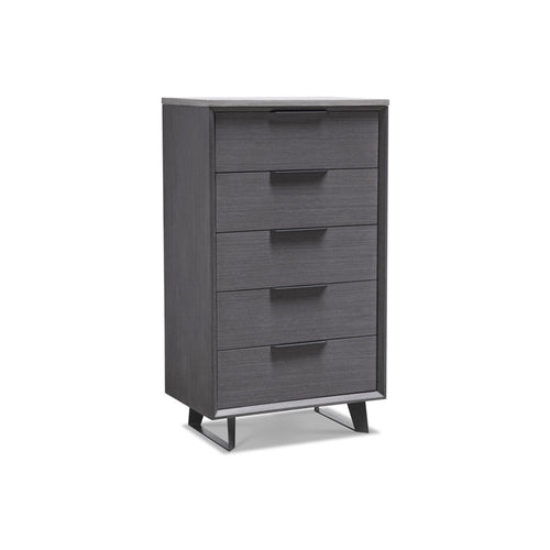Grey stained wood modern tall chest with concrete top and black metal legs
