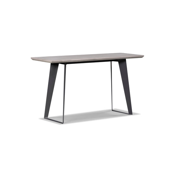 Modern concrete writing table with black metal legs