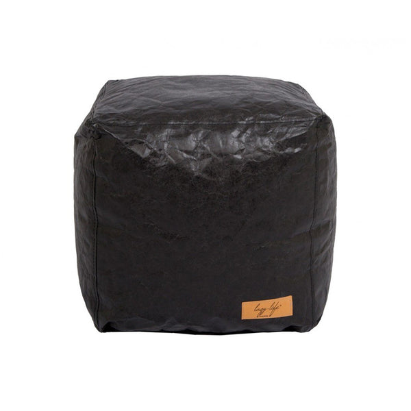 Black modern bean bag cube ottoman or chair