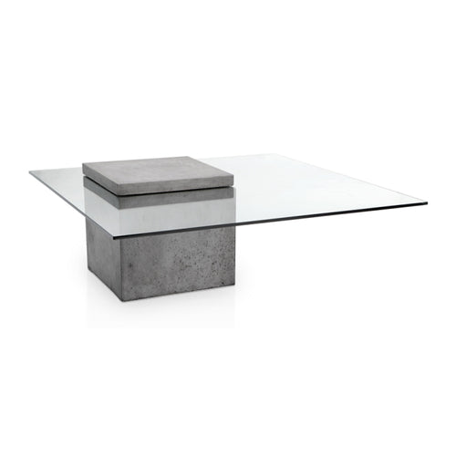 Modern glass coffee table with concrete base