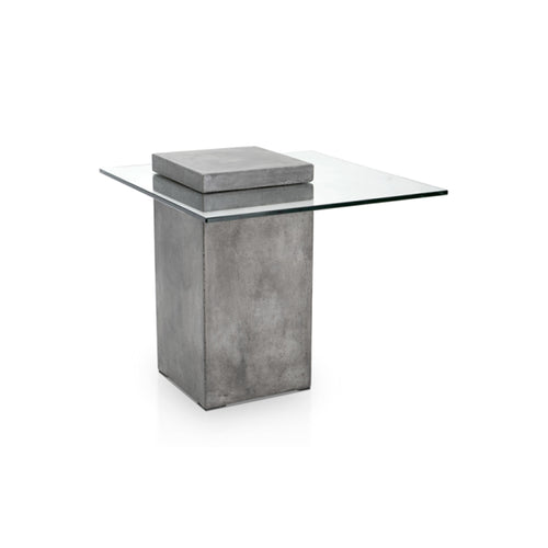 modern glass end table with concrete base
