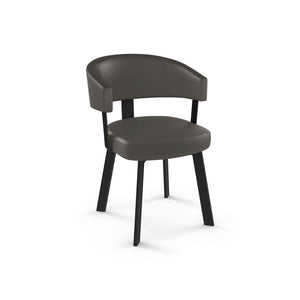 Dark grey modern leatherette dining chair with dark metal frame