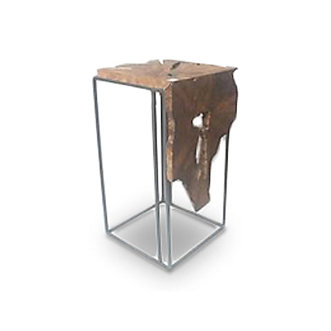 Modern erosion teak pedestal with iron base