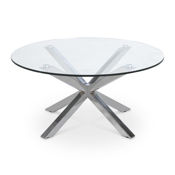 Modern round glass coffee table with chrome star base