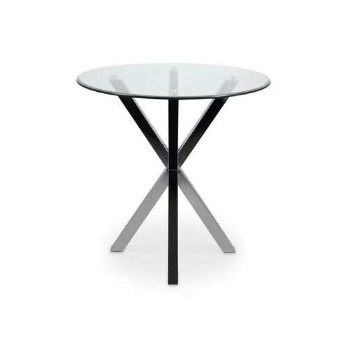 Modern round glass lamp end table with chrome star base