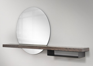 Modern circular mirror with wooden shelf