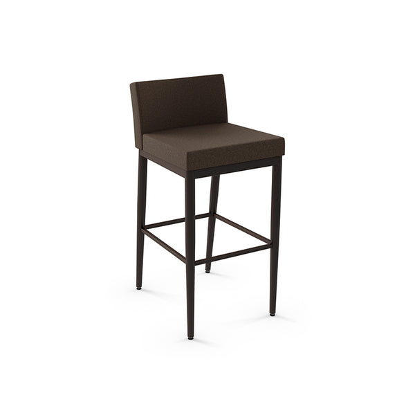 modern dark brown fabric custom order barstool with black metal legs