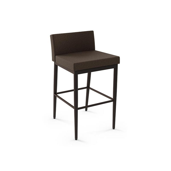 modern over-sized dark brown fabric custom order barstool with black metal legs