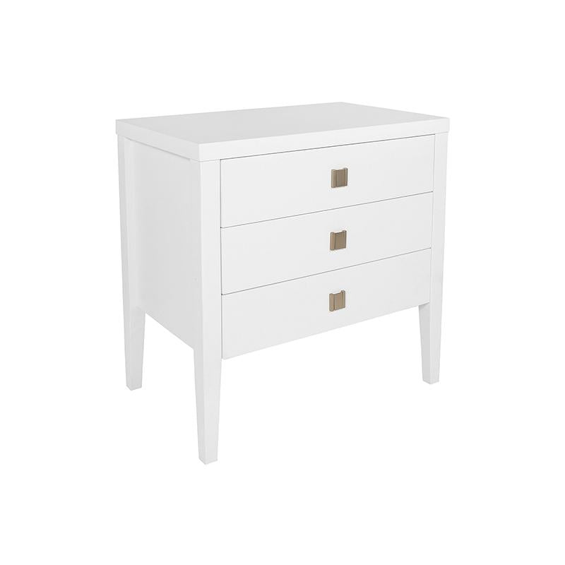 Modern white 3 drawer dresser side table with brushed gold pulls