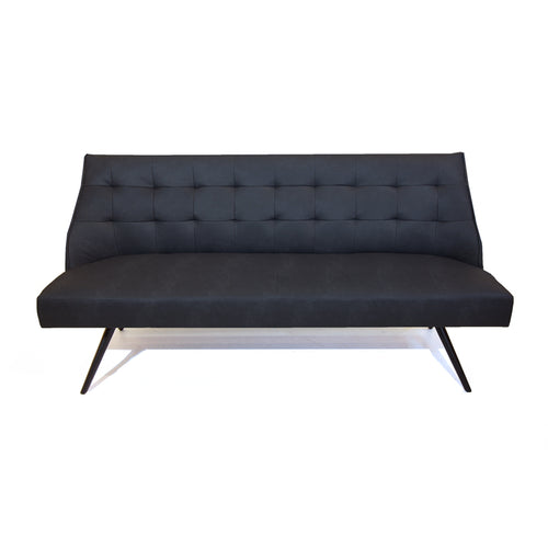 Black modern leatherette bench with black powder coat metal legs
