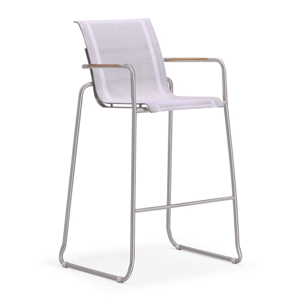 Grey Modern Patio Bar Arm Chair made of Batyline Fabric with Stainless Steel Frame