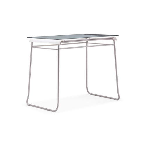 Modern glass and batyline patio bar table with stainless steel base