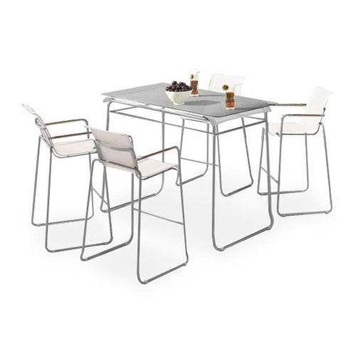 Modern batyline and chrome patio bar table set