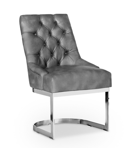 Grey modern leather dining chair with stainless steel base