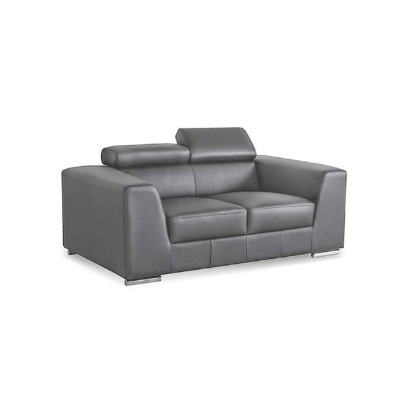Grey modern leather loveseat sofa with stainless steel legs