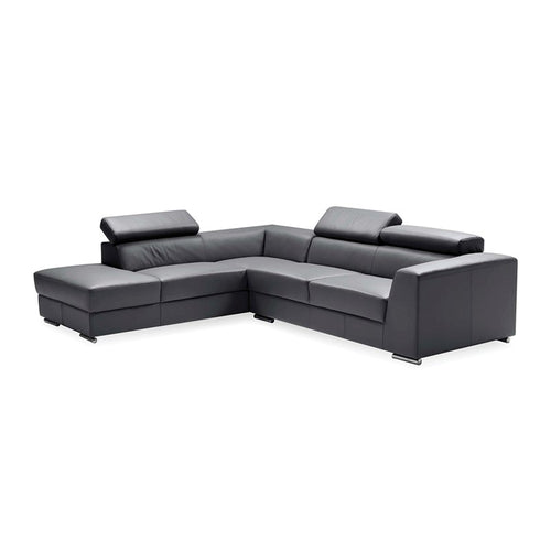 Dark grey modern leather sectional, left hand facing
