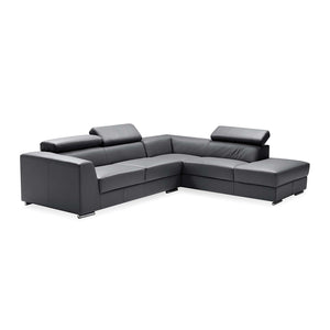 Black modern leather sectional, right hand facing