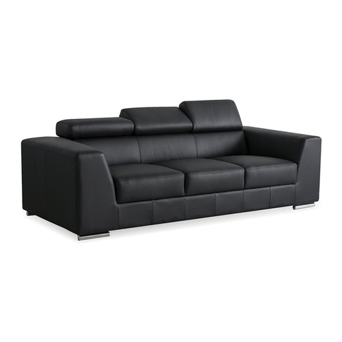 Black modern leather sofa with stainless steel legs