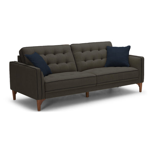 Charcoal grey modern fabric sofa with walnut legs