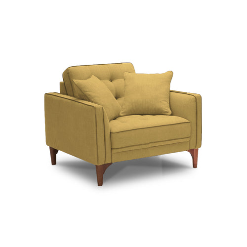 Golden yellow modern fabric arm chair with walnut legs