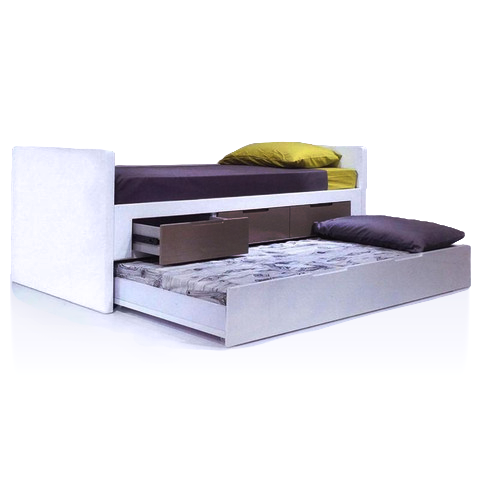 White gloss modern bed with storage and additional trundle underneath