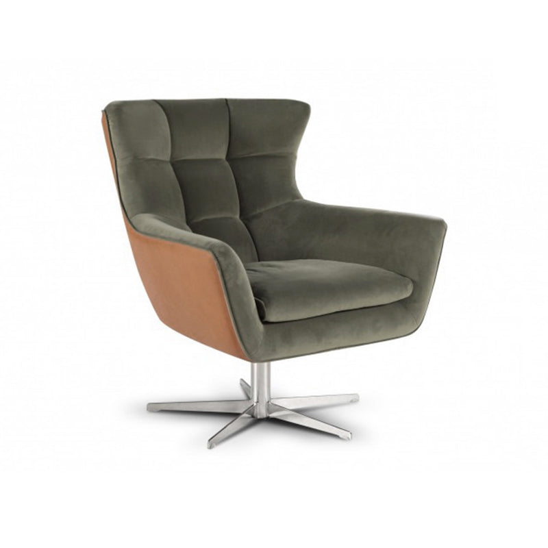 Black and brown modern Italian leather swivel chair